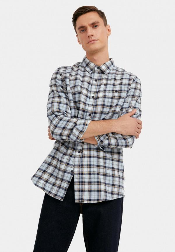 мужская рубашка с длинным рукавом finn flare, голубая