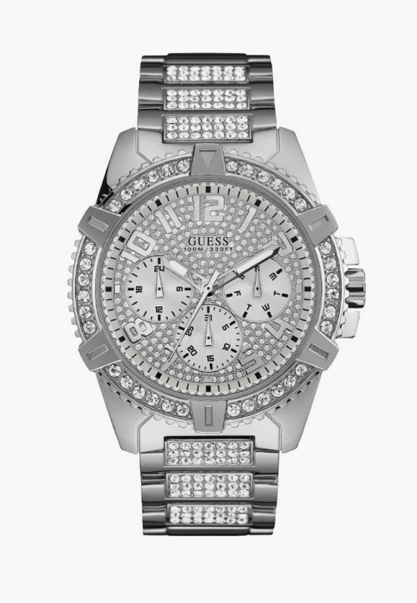 мужские часы guess, серебряные