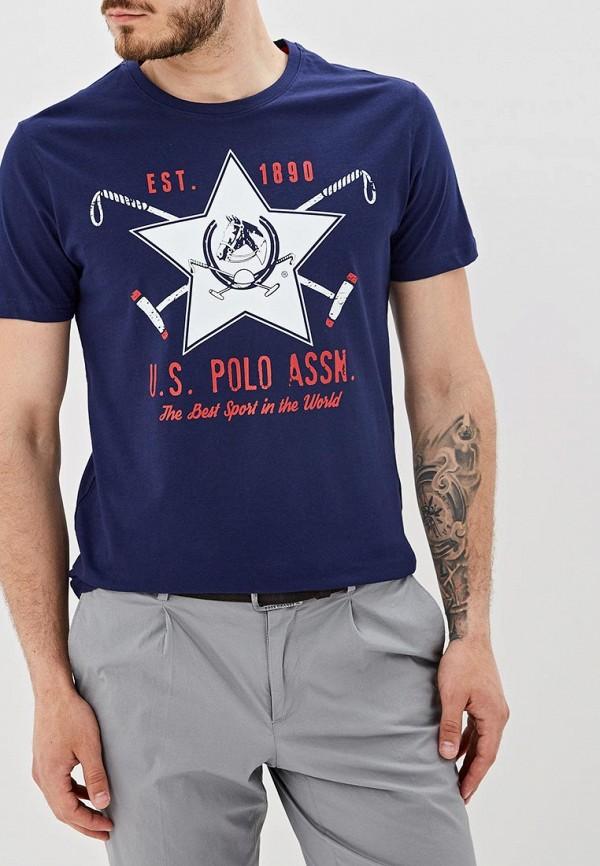 Фото - Мужскую футболку U.S. Polo Assn. синего цвета