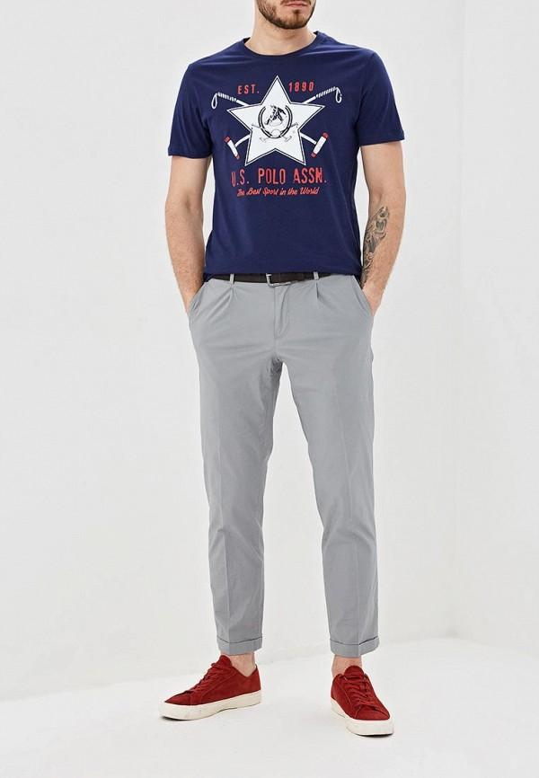 Фото 2 - Мужскую футболку U.S. Polo Assn. синего цвета