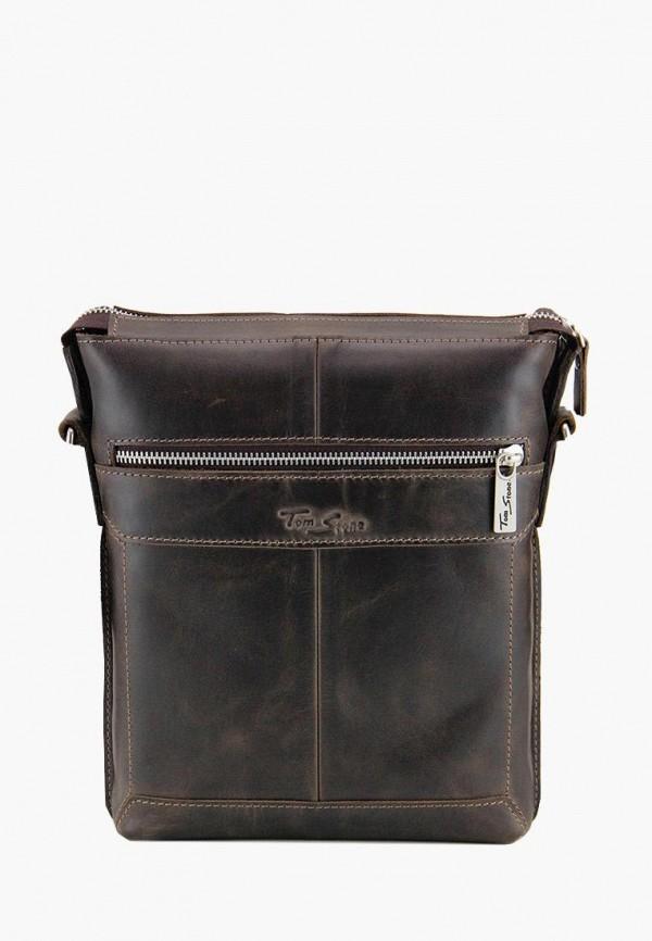 мужская сумка tom stone, коричневая