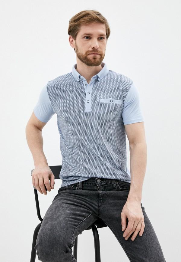 мужское поло с коротким рукавом al franco, голубое