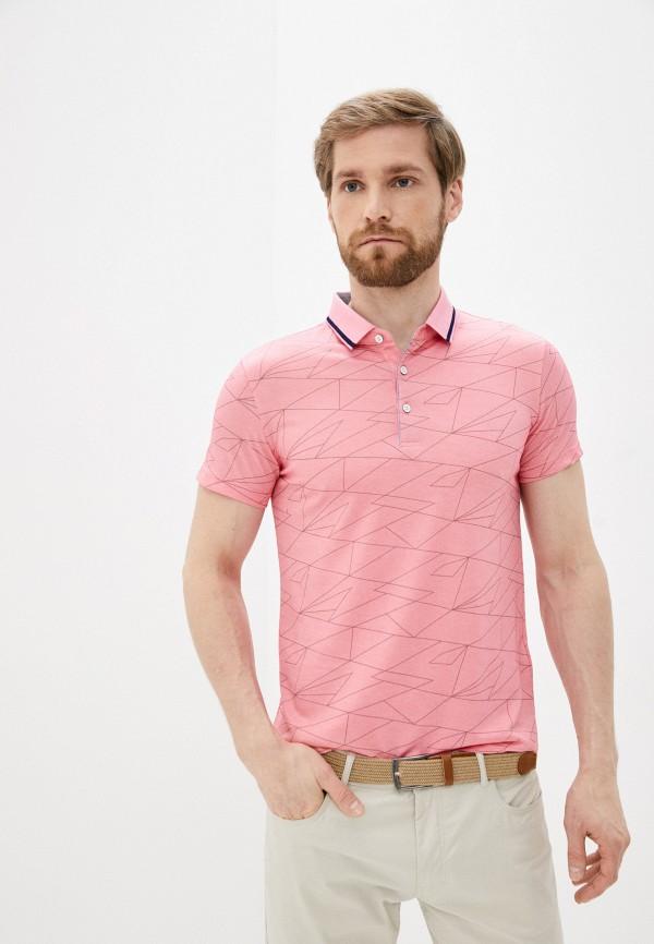 мужское поло с коротким рукавом al franco, розовое