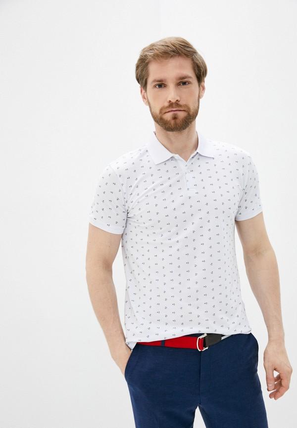 мужское поло с коротким рукавом al franco, белое