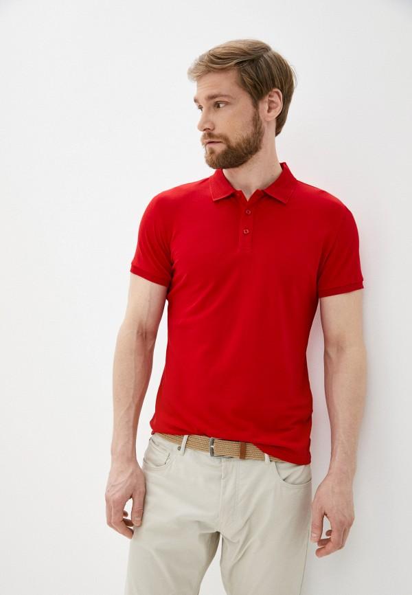 мужское поло с коротким рукавом al franco, красное