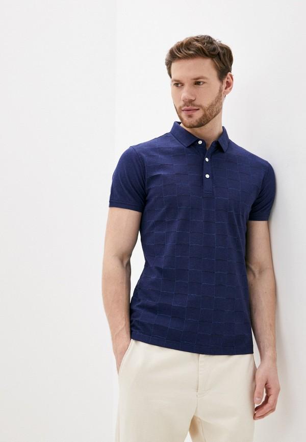 мужское поло с коротким рукавом al franco, синее
