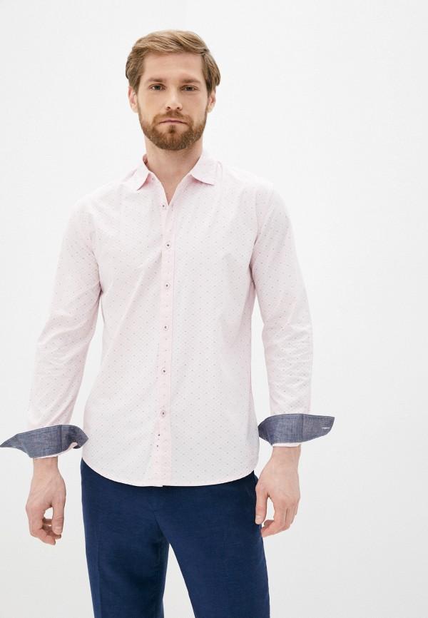 мужская рубашка с длинным рукавом al franco, розовая