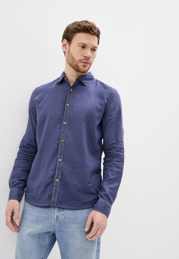 мужская рубашка с длинным рукавом al franco, синяя