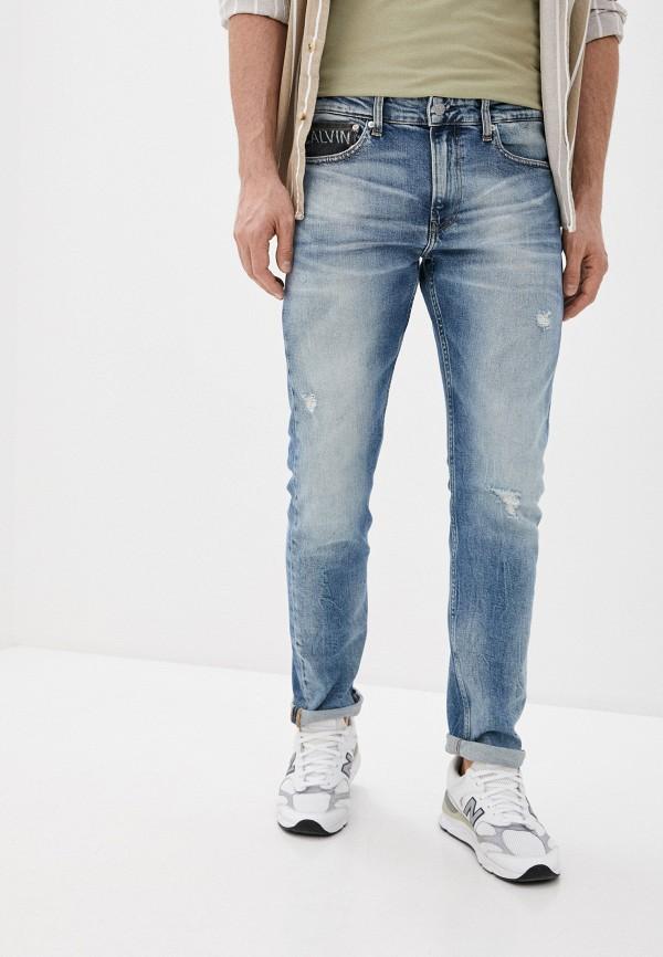 мужские прямые джинсы calvin klein, голубые