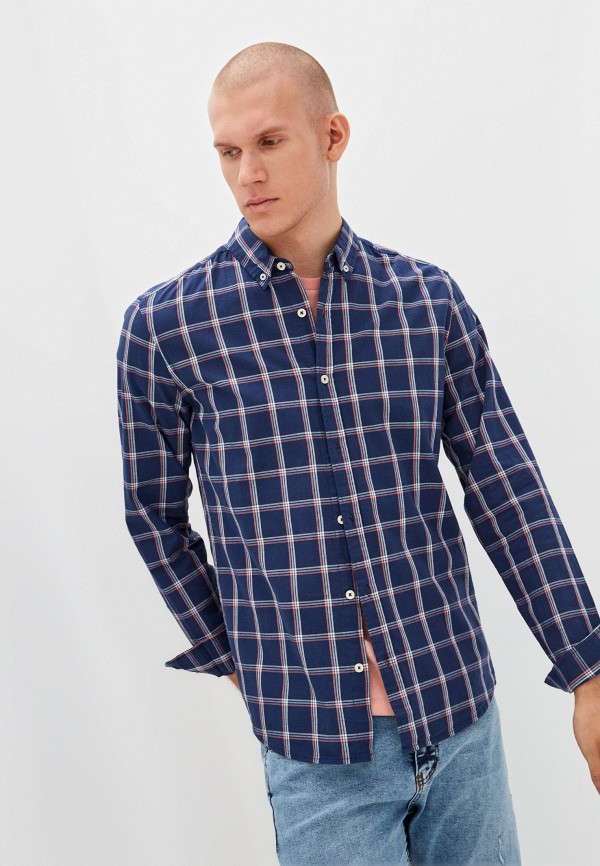 мужская рубашка с коротким рукавом colin's, синяя