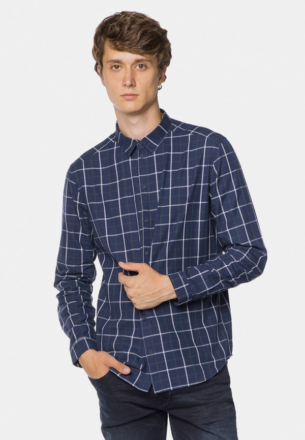 мужская рубашка с длинным рукавом mr520, синяя