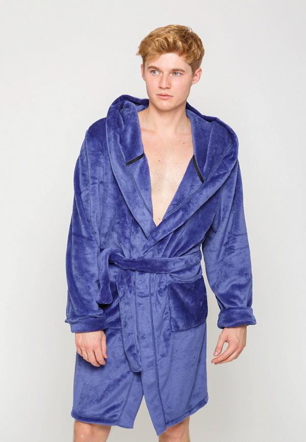 мужской халат street style, синий