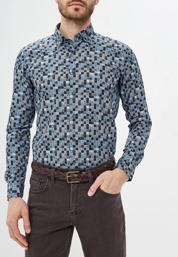 мужская рубашка с длинным рукавом bawer, синяя