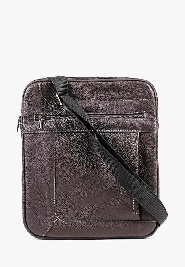 мужская сумка медведково, коричневая