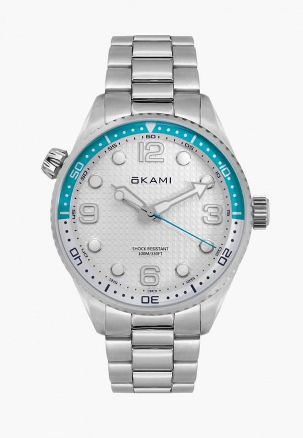 мужские часы okami, серебряные