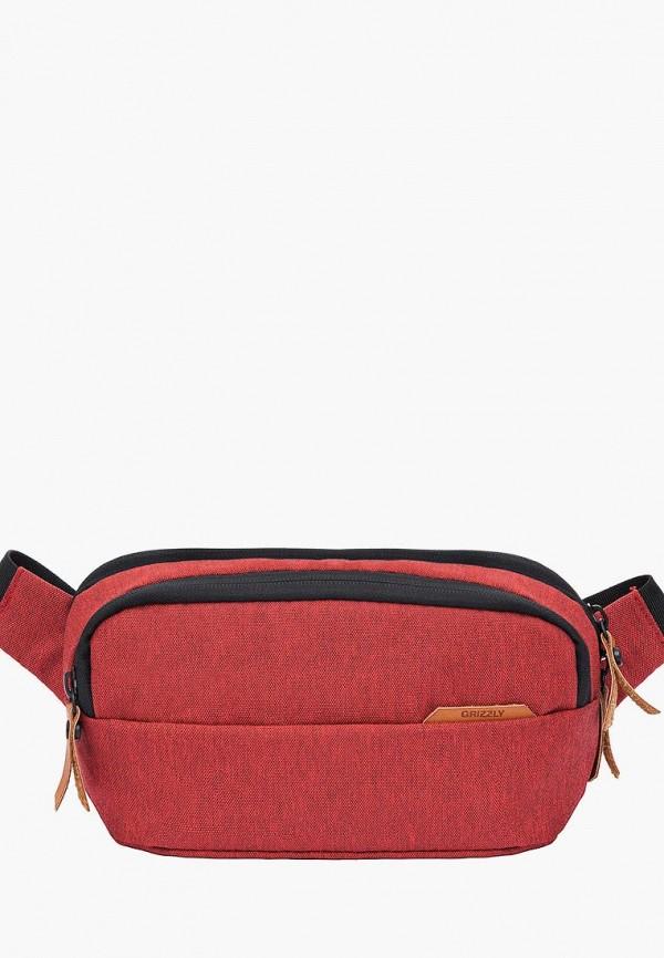мужская сумка grizzly, красная