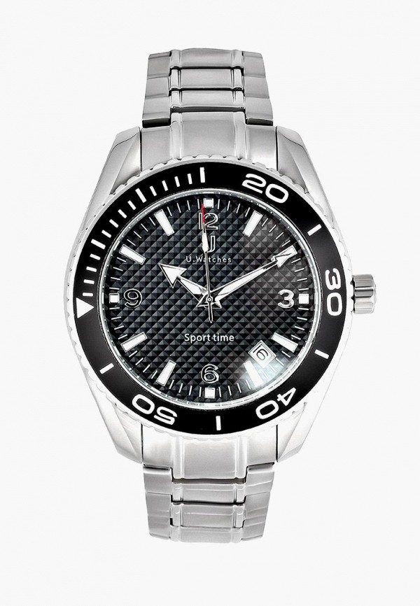 мужские часы u.watches, серебряные
