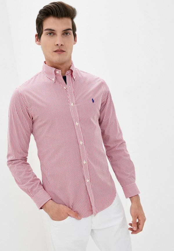 мужская рубашка с длинным рукавом polo ralph lauren, красная