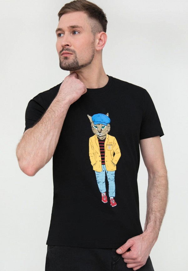 мужская футболка с коротким рукавом finn flare, черная