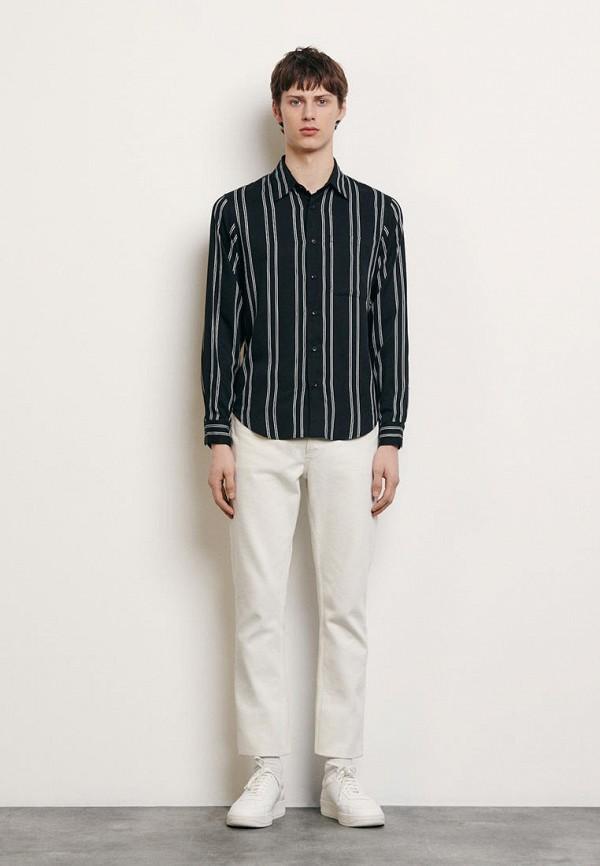мужская рубашка с длинным рукавом sandro, черная