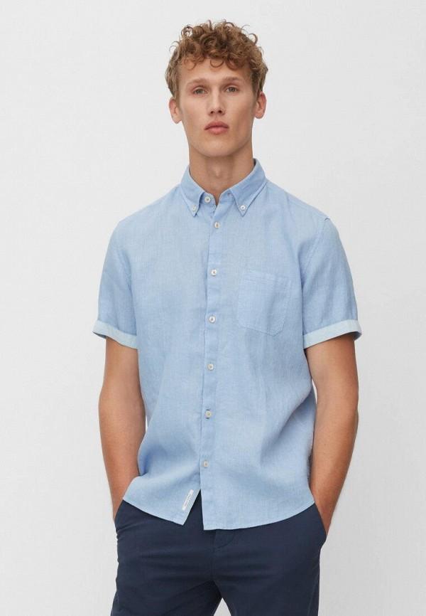 мужская рубашка с коротким рукавом marc o'polo, голубая