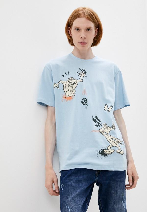 мужская футболка с коротким рукавом befree, голубая