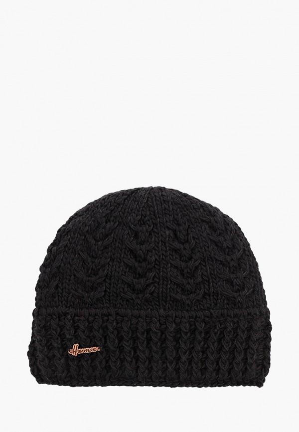 женская шапка herman, черная