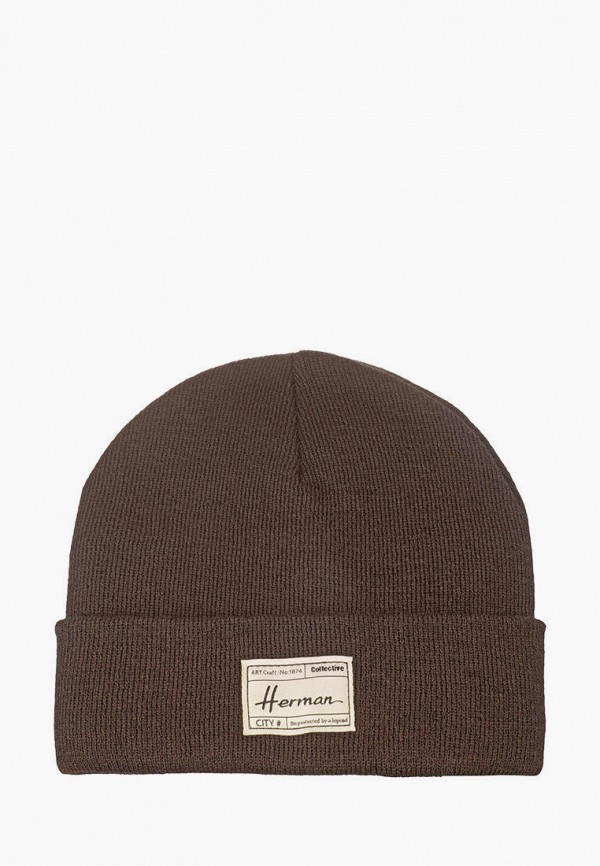 женская шапка herman, коричневая
