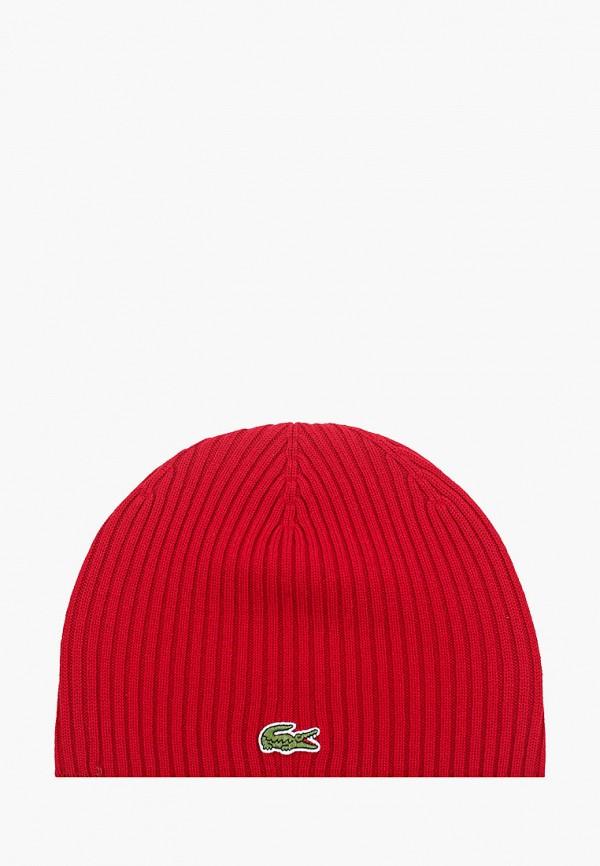 женская шапка lacoste, бордовая