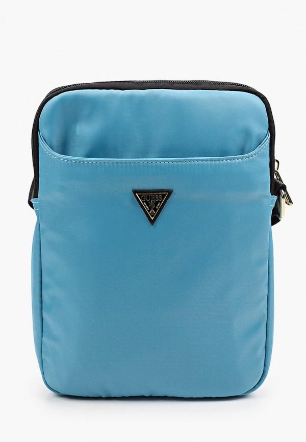 женская сумка через плечо guess, голубая