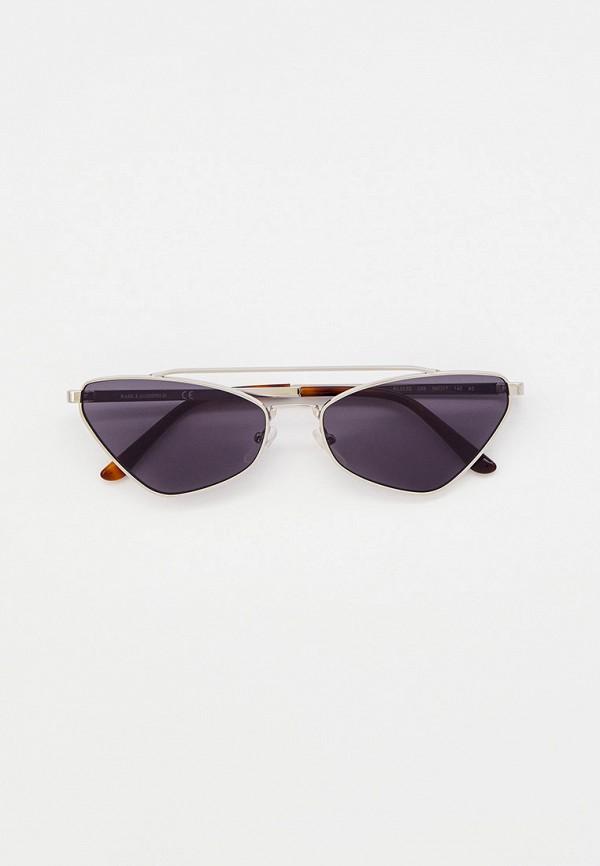 женские солнцезащитные очки кошачьи глаза karl lagerfeld, серебряные