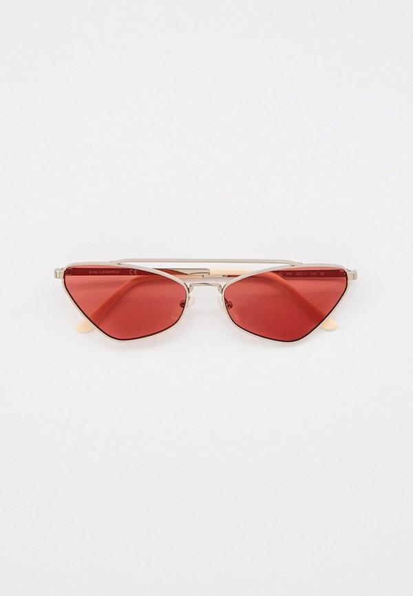 женские круглые солнцезащитные очки karl lagerfeld, серебряные