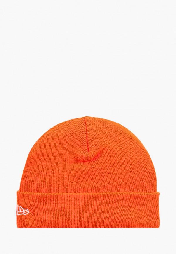 женская шапка new era, оранжевая