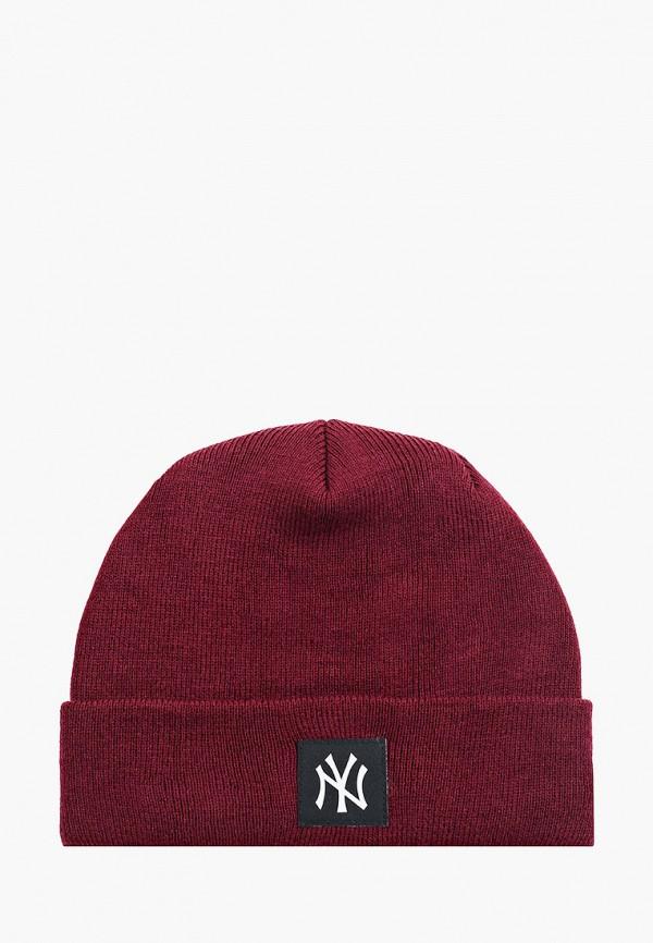 женская шапка new era, бордовая