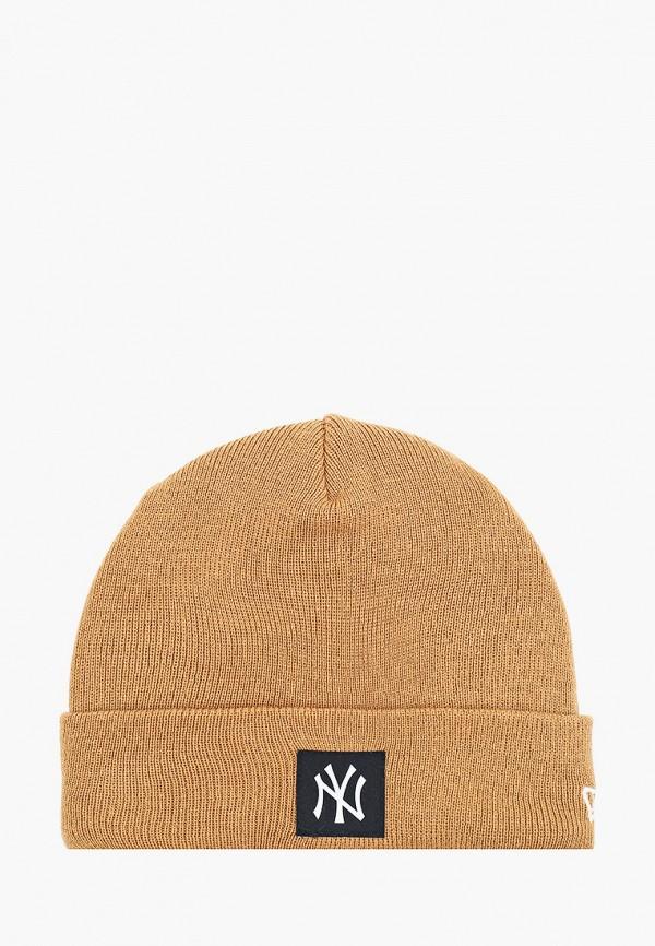женская шапка new era, коричневая