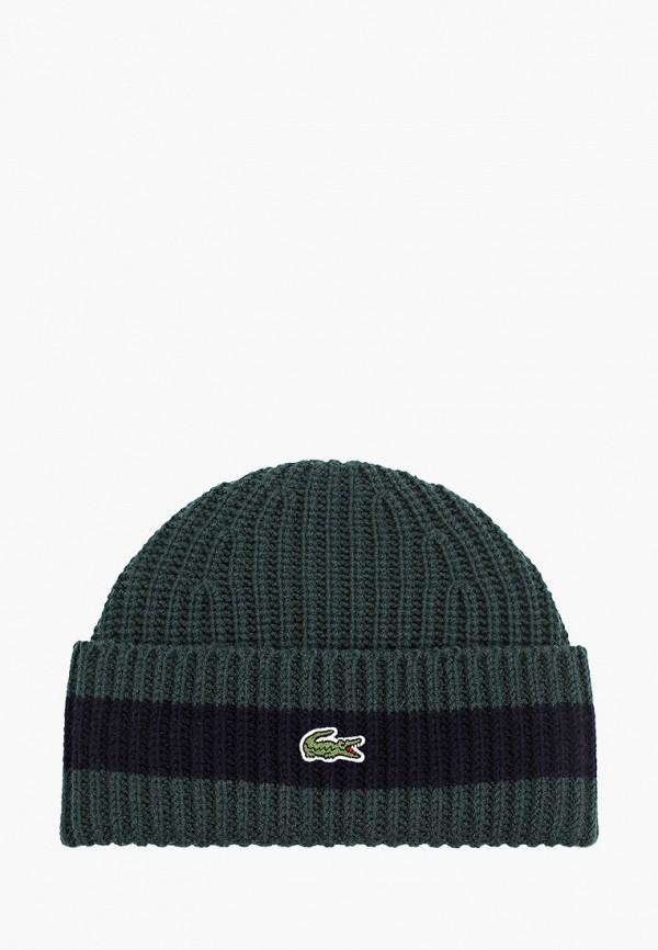 женская шапка lacoste, зеленая