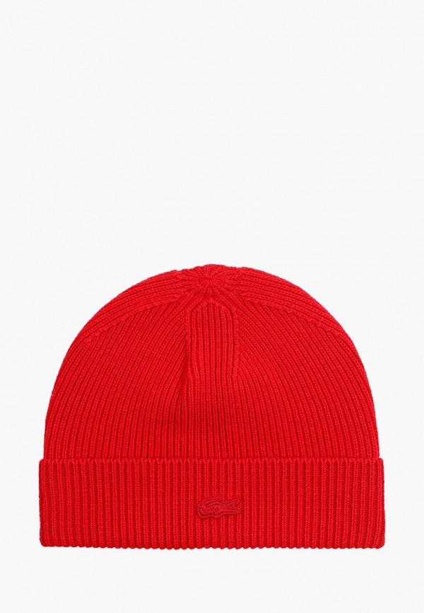 женская шапка lacoste, красная