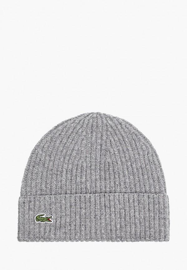 женская шапка lacoste, серая