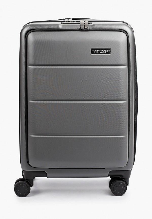 женский чемодан vitacci, серый