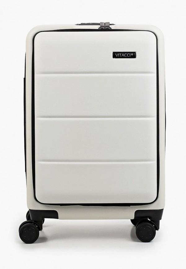 женский чемодан vitacci, белый