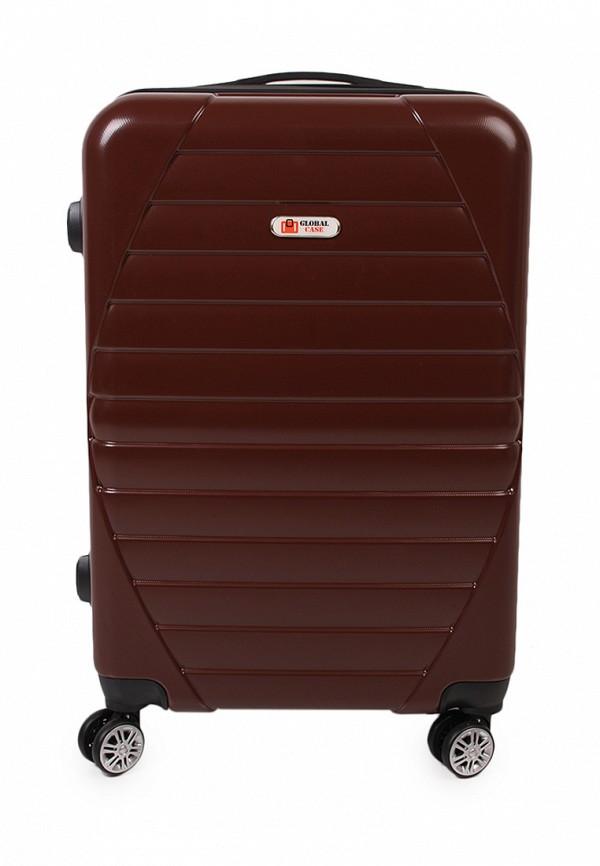 женский чемодан global case, коричневый