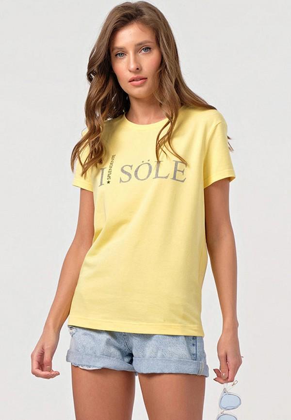 женская футболка fly, желтая