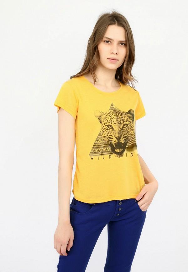 женская футболка alcott, желтая