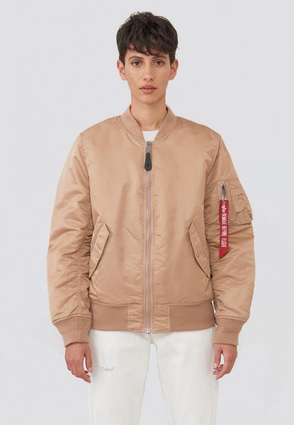 женская куртка alpha industries, бежевая