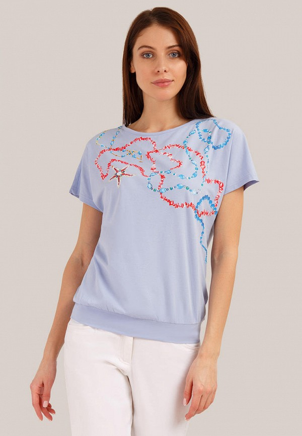 женская футболка finn flare, голубая