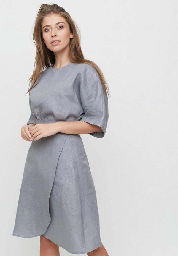 женский костюм linen pleasure, серый