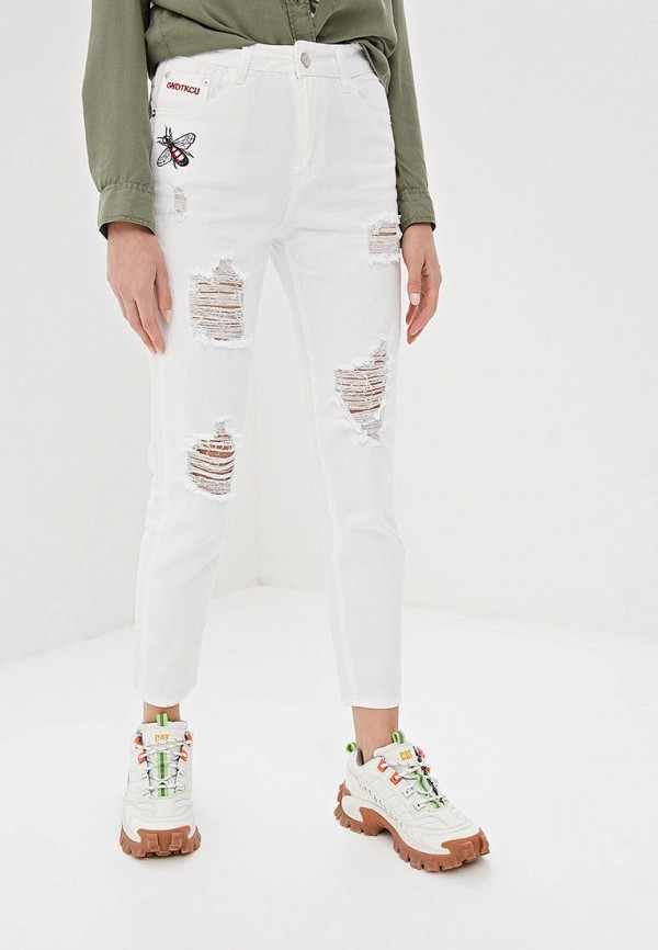женские прямые джинсы elardis, белые