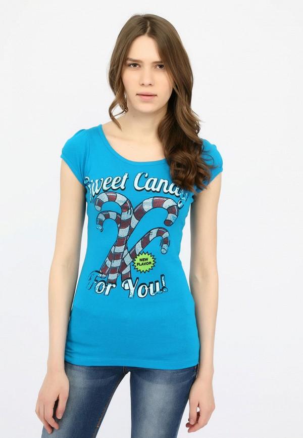 женская футболка alcott, голубая