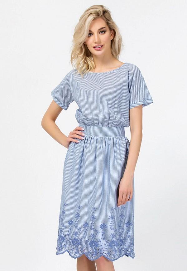 женское платье миди remix, голубое