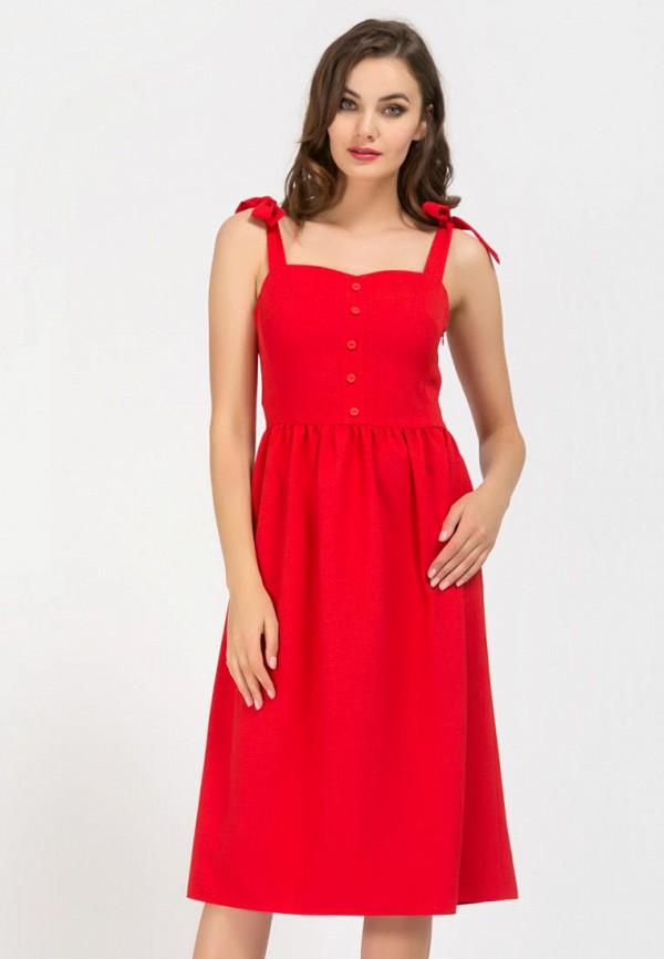 женское платье миди remix, красное